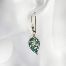 Women's Vintage Style Drop Earrings with Leaf Shaped Pendants