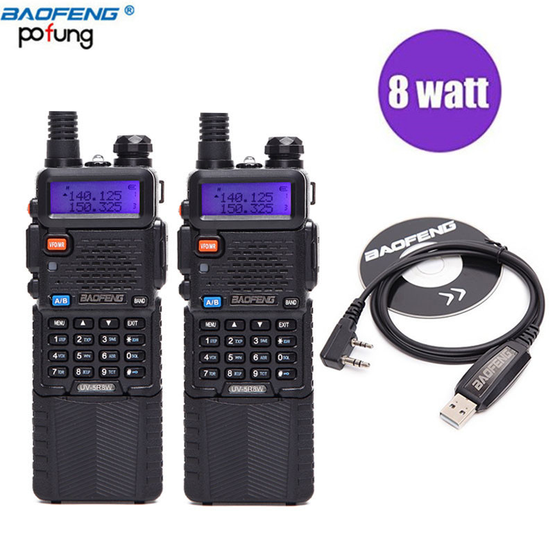 2 PCS Baofeng UV 5R 8W powerful 10 km long range Dual Band uhf vhf Walkie