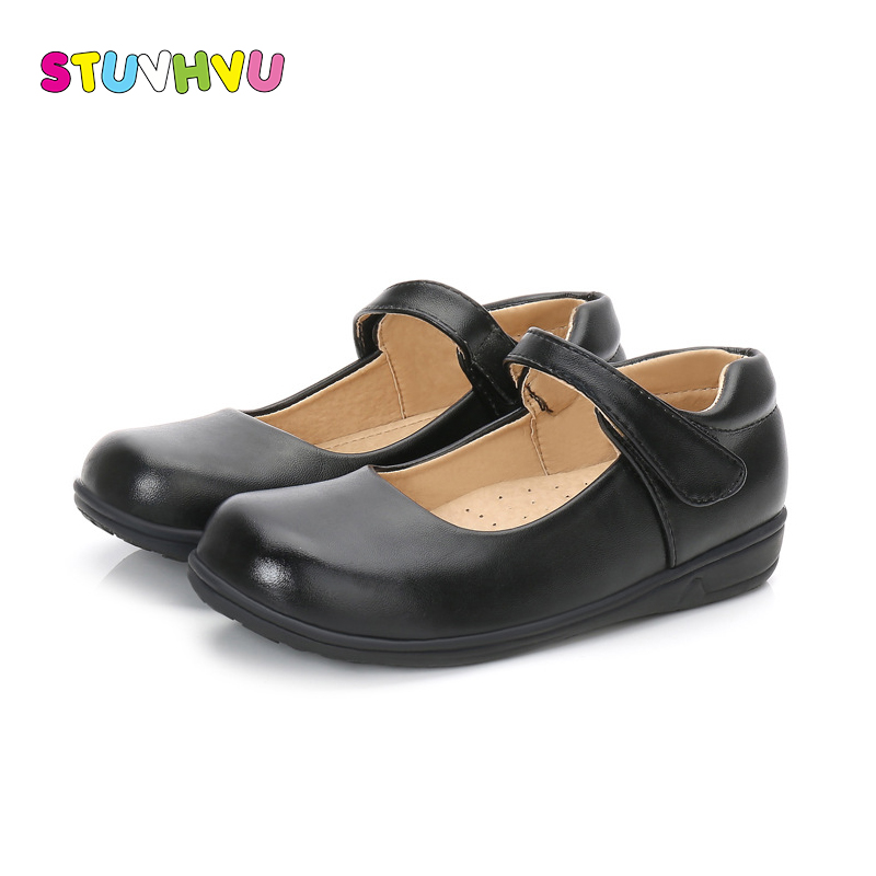 Girls Leather Shoes Black White Children Shoes For Boys Girls School Shoes Spring Autumn New Rubber Sole Slip Kids Casual Shoe