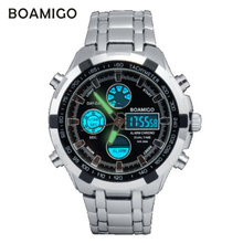 watches men luxury brand BOAMIGO  military sports watches Dual Time Quartz  Digital Watch LED  Stainess steel band wristwatches
