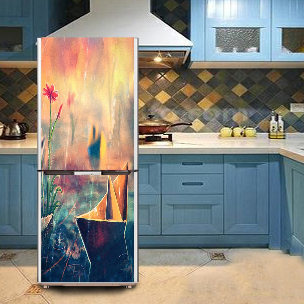 DIY Paper boat Waterproof Self Adhesive Refrigerator Sticker Fridge ...