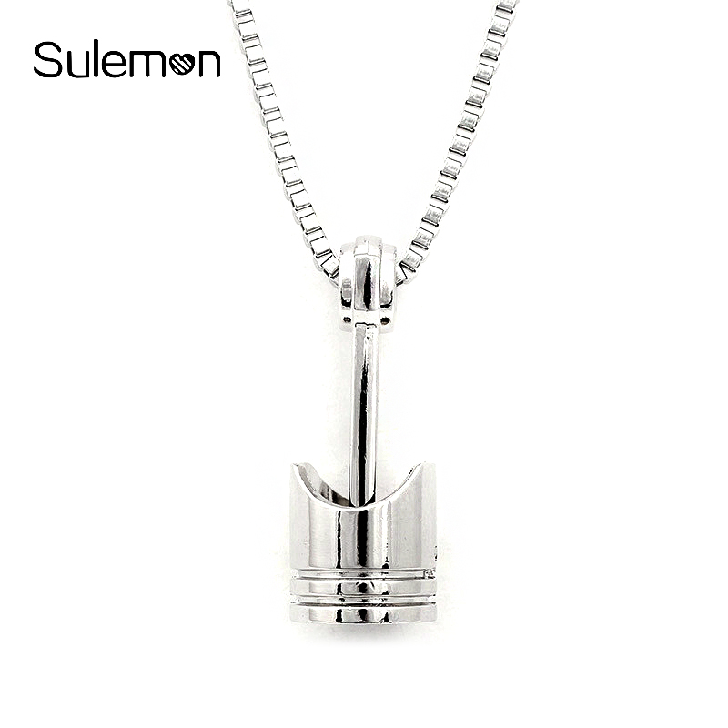 Mini Engine Piston Pendant Stainless Steel Necklace Biker Motorcycle Enthusiast Torque Necklaces Men Punk Rocking Jewelry SN63