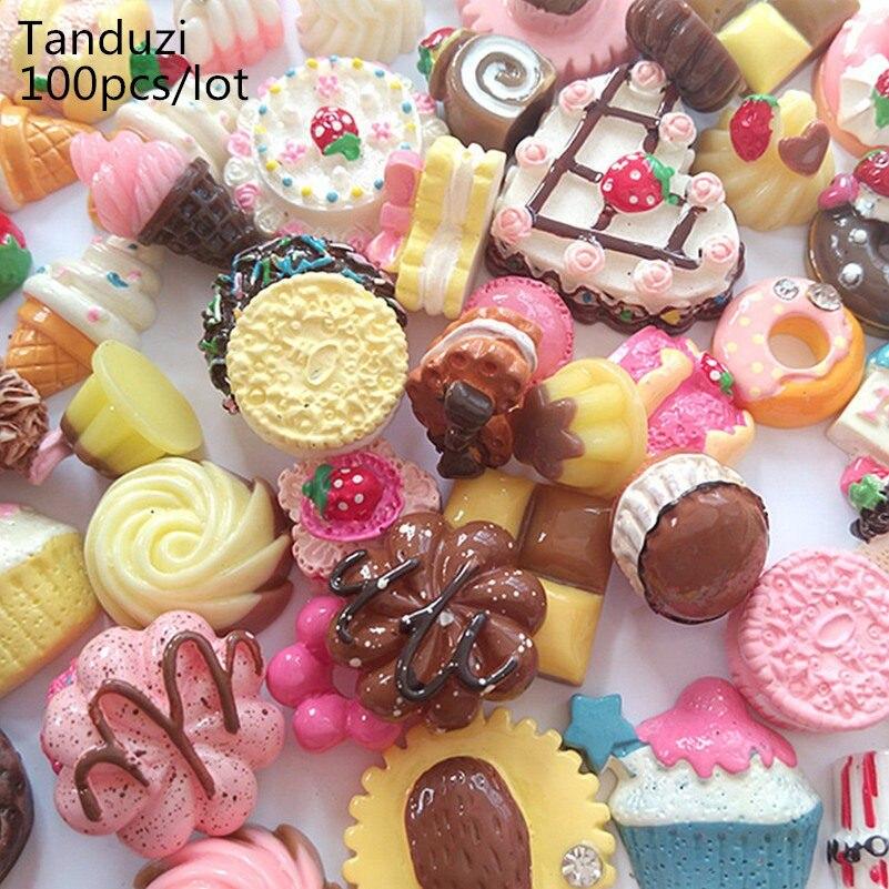 Tanduzi 100pcs Flatback Resin Cabochons Simulation Food Kawaii Mixed Bread Cupcake Ice Cream Cookie Donut DIY Home Decoration