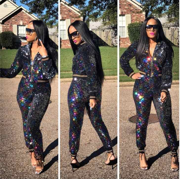 f244c151e22d ... New Sexy Sequin Two Piece Sets Women Glitter Crop Jacket and Pants 2  Piece Sets Long