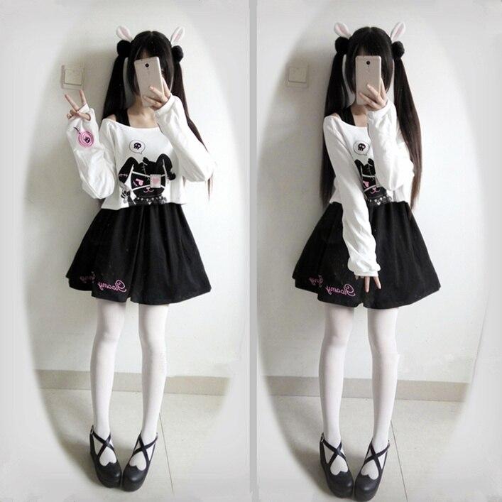 Rabbit Harajuku Dress Teens Girls 2 Pcs Suit Sweet Kawaii Short Dress Cute Bunny Print Long Sleeve Japanese Lolita Dress 2020