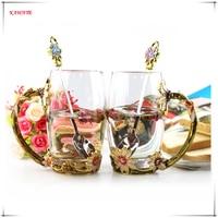 1Set Creative Novelty Enamel Coffee Cup Mug Flower Tea Glass Cups Morning Mug Breakfast Milk Coffee