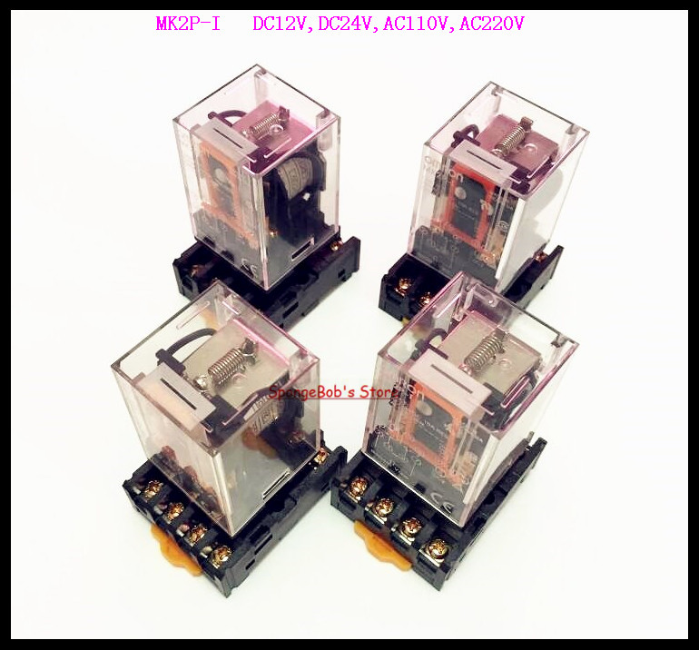 2 Sets/Lot MK2P-I DC12V DC24V AC110V AC220V Relay 8-Pin 10A 250VAC Electromagnetic Relay With Socket Base 10pcs 8 pin power timer relay socket base holder pf083a for mk2p i dh48s