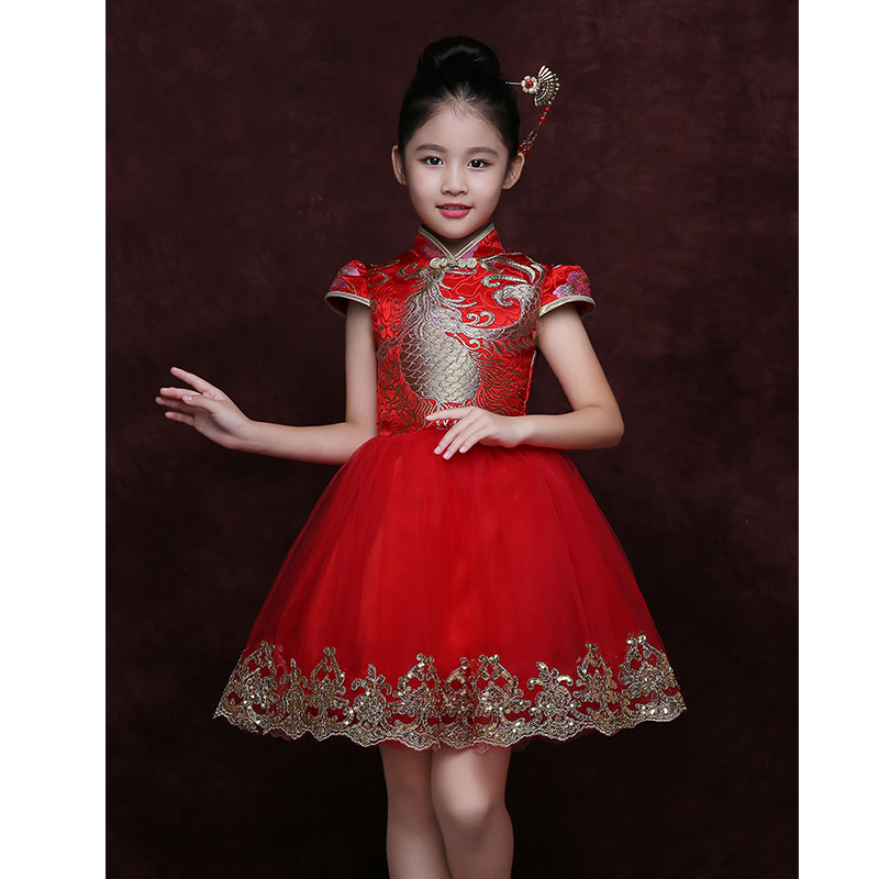 Children 'S Dress Red Cheongsam Baby Embroidery Girls Tang Suit Performance Suits Chinese Children Cheongsam Dress 2018 children s catwalk tail dress large children s flower princess sequin embroidered children s dress