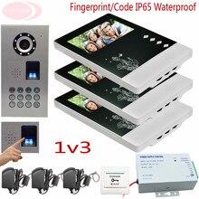 Sunflowervdp Video Doorphone Kit Fingerprint CCD Camera Home Phone Intercom Video Video Doorphone Loud Doorphone Waterproof IP65