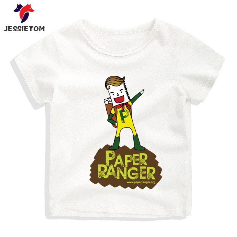 Boy and Girl Cartoon Paper Ranger Tshirt Kid Summer Soft Kawaii Top Tee Children Funny Clothes Baby Camisetas