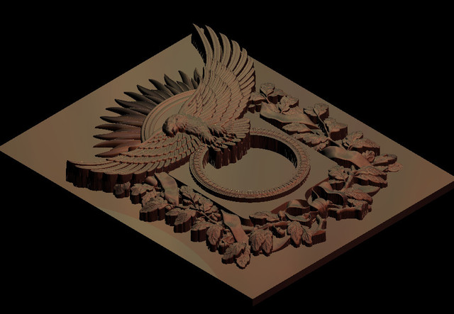 3D model eagle with flowers relief for CNC router engrave Artcam ...