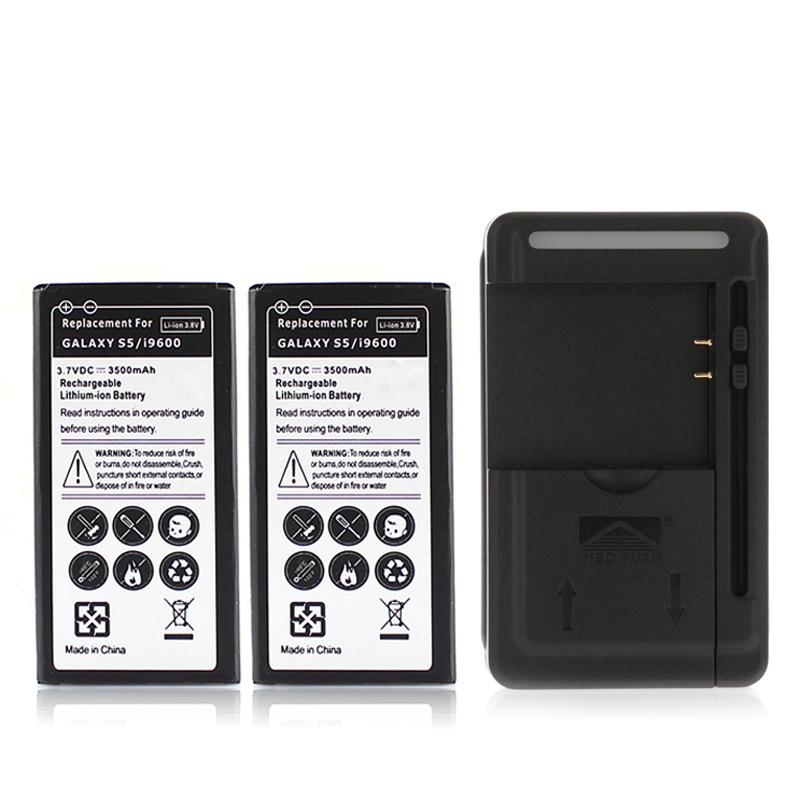 2x 3500mAh Replacement <font><b>Phone</b></font> Battery For Samsung <font><b>Galaxy</b></font> <font><b>S5</b></font> i9600 Rechargeable Commercial Battery Batteria+ USB Wall <font><b>Charger</b></font>