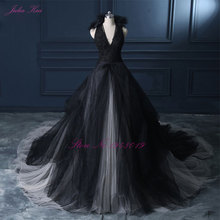 جوليا كوي الرسن خط أسود الزفاف اللباس 2019 ثوب زفاف الكونت قطار الأميرة خمر فستان الزفاف
