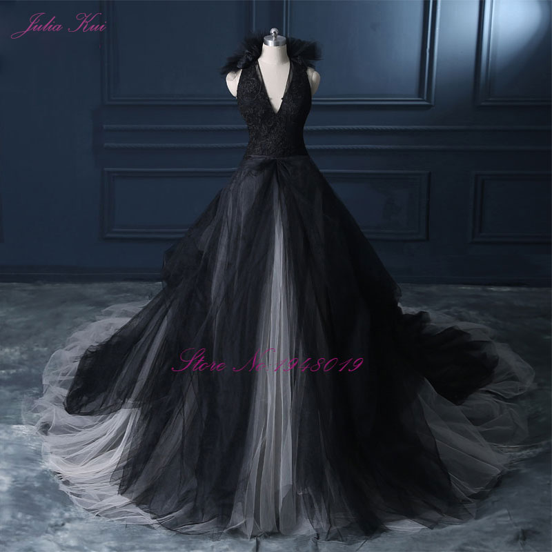 Julia Kui Halter A Line Black Wedding Dress 2019 Wedding Gown Count Train  Princess Vintage Bridal Dress-in Wedding Dresses from Weddings & Events