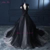Julia Kui Halter A Line Black Wedding Dress 2017 Wedding Gown Count Train Princess Vintage Bridal Dress