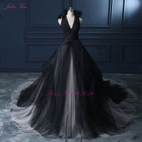 Julia Kui Halter A Line Black Wedding Dress 2017 Wedding Gown Count Train Princess Vintage Bridal Dress