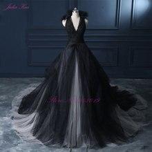 Julia kui halter uma linha vestido de casamento preto 2019 vestido de noiva contagem trem princesa vestido de noiva do vintage