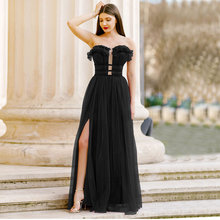 Net yarn formal dress women elegant fashion Sleeveless Prom Dress Open fork evening dresses beautiful Party Gowns ever pretty
