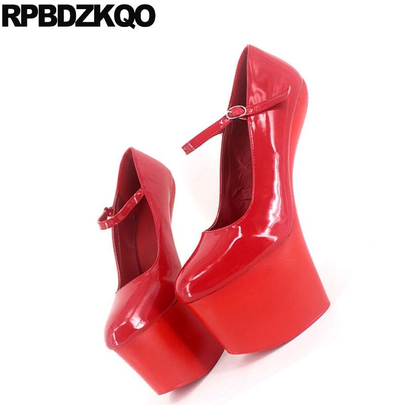 14e40ba481b2b US $61.8 36% OFF ankle strap shoes 13 45 round toe novelty heelless unisex  pumps 20 cm high heels platform exotic dancer plus size women gothic-in ...