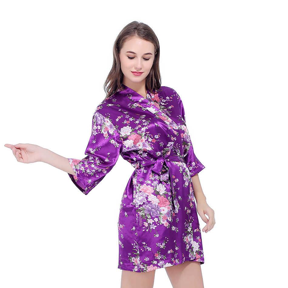Шелковый Атласный Свадебный халат невесты цветочный Халат короткий кимоно халат ночной халат банный халат модный халат для женщин