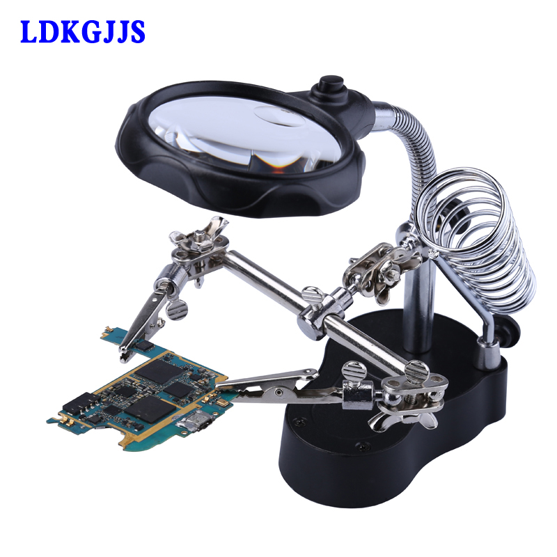 Magnifying Glass 3.5X 12X Magnifier Loupe Helping Hand Repair Tools LED Lights With Soldering Stand Magnifying Loupe Glasses цены