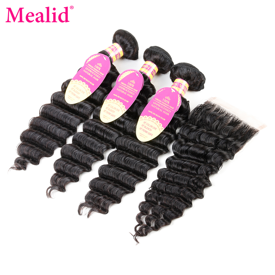 Mealid Brazilian Deep Wave Bundles With Closure Non Remy Human Hair 3 Bundles With Closure Free Part 1b Color Hair Extension