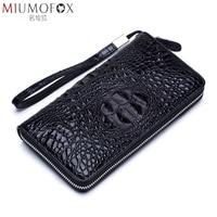 Male Clutch Genuine Leather Men's Wallet Long Wallet Top Quality Cowskin Alligator Pattern Zipper Coin Purse Men Business Wallet