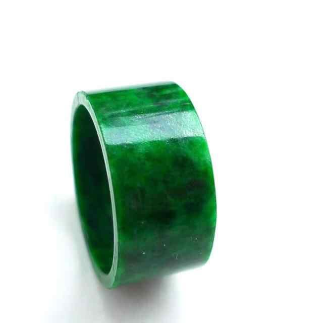 พม่าเก่า pit emerald สีเขียวปุ่มหมายถึงดอกไม้สีเขียวสีฟ้าแหวน big finger แหวนหยก 3001 #