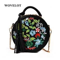 FGGS Для женщин с вышивкой в стиле ретро цветы сумки Искусственная кожа кисточкой сумка для дамы вечерние круглый сумка женская сумка