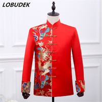 Fashion Chinese style Male groom Red Embroidery coat Wedding dress Stand collar slim Suit jackets prom host stage show outerwear