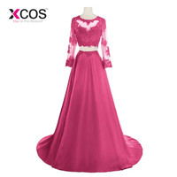 XCOS Two Pieces 2018 Prom Dresses A line Long Sleeve Fuschia Royal Blue Appliques Lace Prom Gown Evening Dresses Evening Gown