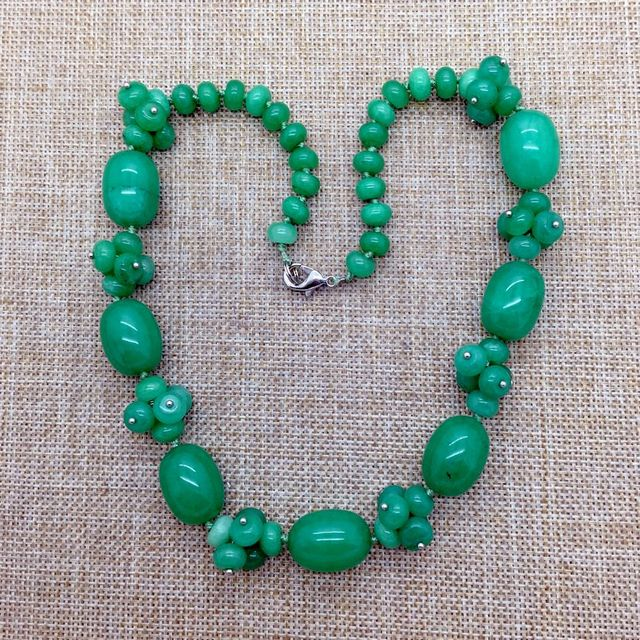 Natural Stone Bead Necklace, Green Jade Bead Necklace Choker Necklace;  Hand Made Jewelry, Wired Bead Necklace