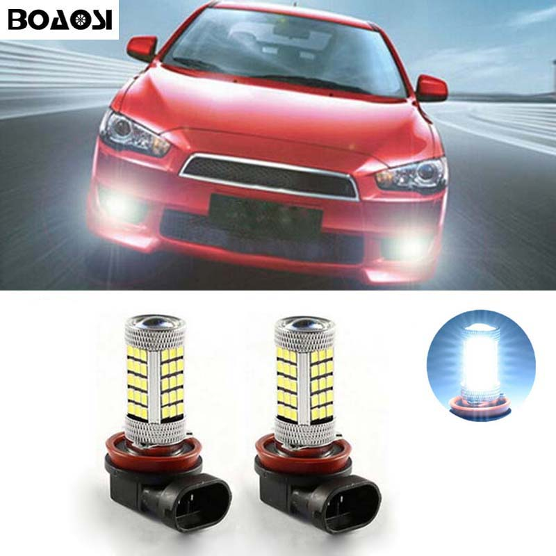 BOAOSI 2x H8 H11 Error Freee 2835 Cree Chips LED Fog Light DRL Bulb For Mitsubishi Lancer 2010-2014 Mitsubishi Asx 2x led p13w 80w 50w no error decoder bulb with cree chips fog daytime running light bulb for mazda cx 5 2013 2014 skoda yeti
