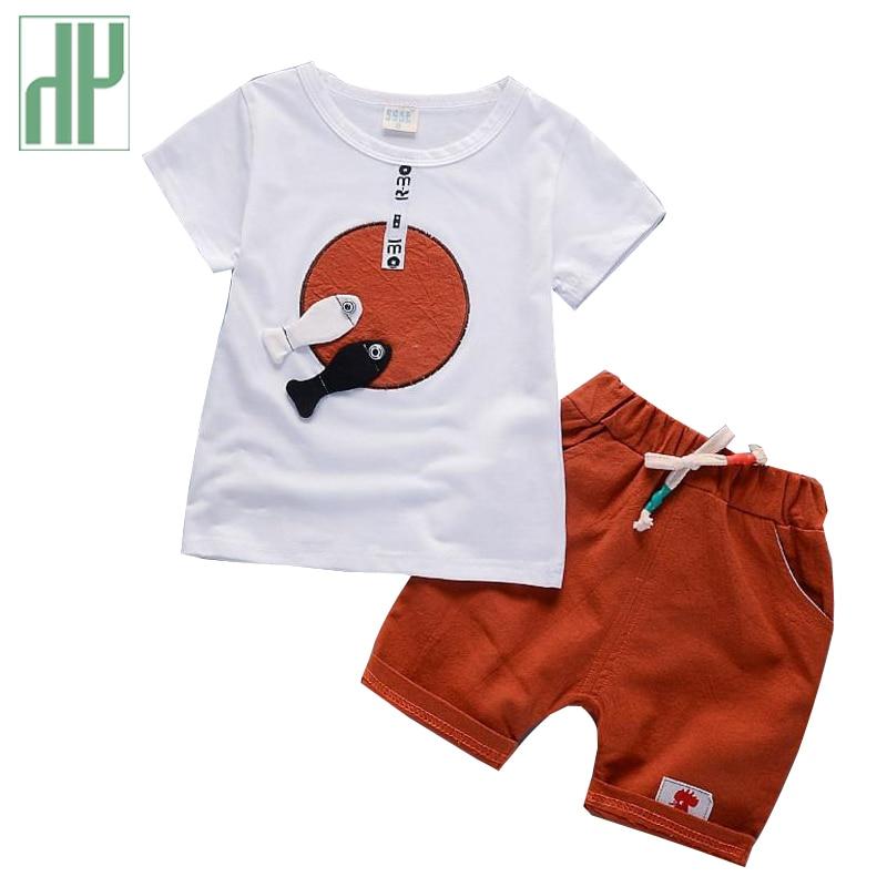 HH Summer children clothing Cartoon Boys Clothes T-shirts Shorts Cotton 2Pcs/set baby boy summer clothes 2018 kids shorts suits