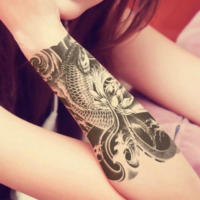 dfb253a27 New 2 PCS Black Fish Temporary Tattoo Waterproof Men Women Arm Sticker Fake Arm  Sleeve Body Tattoo Shoulder Tattoos