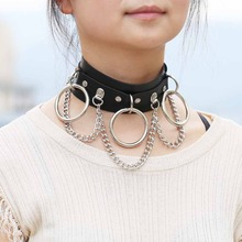 KMVEXO Sexy Harajuku Metal O-Round Punk Leather Choker Necklace Women Chains Statement Gothic Necklaces Club Party Anime Jewelry