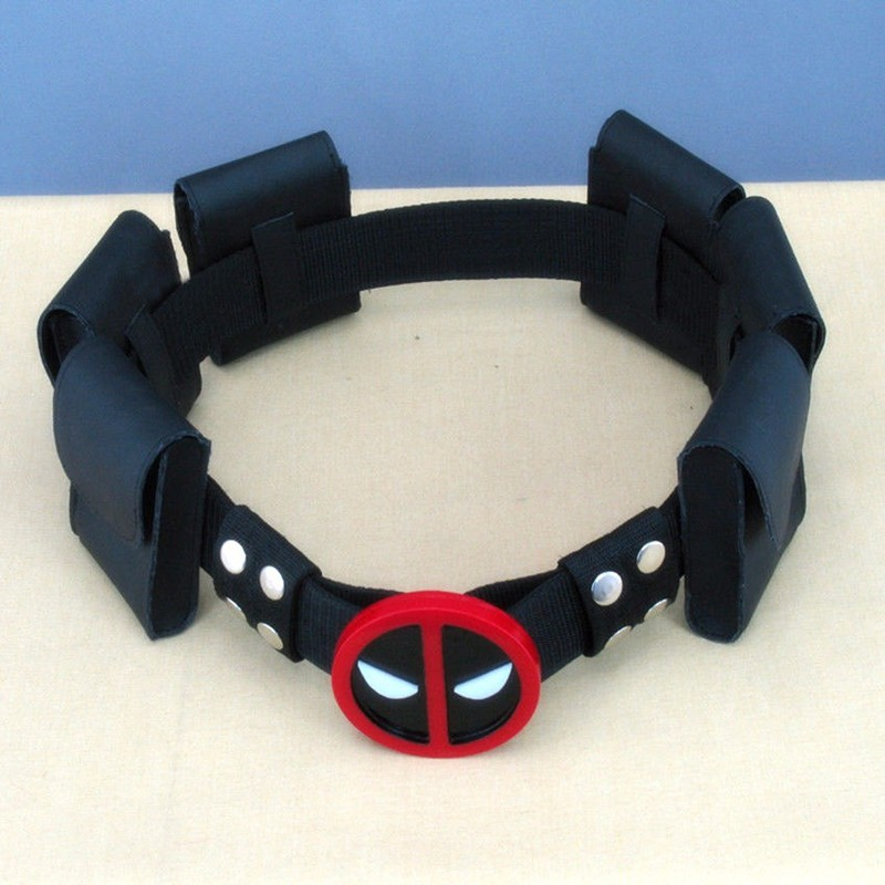 10pcs/lot High quality super hero deadpool belt with 6 bags Waistband Wade T. Wilson Unisex Halloween Cosplay Accessories