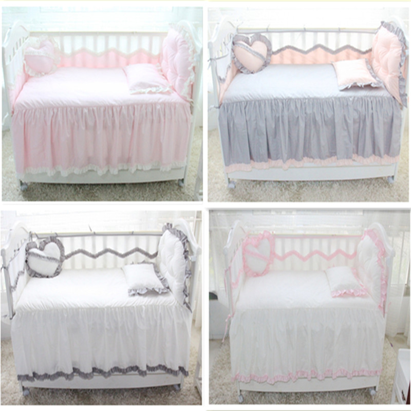 6Pcs Baby Bed Set Bumper Cotton Princess Style Lace Crib Summer Breathable Bumper Bed Sheet Pillowcase Love Pillow Baby Bedding
