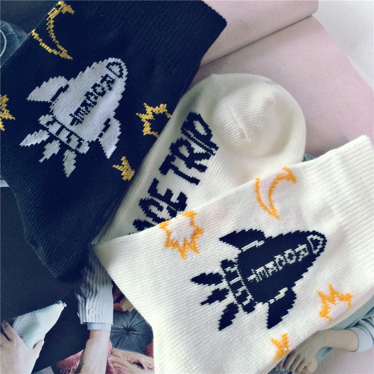 New Fashion Happy Socks Cotton Gentlemen Personality Rocket Printed Business Leisure Mens Socks
