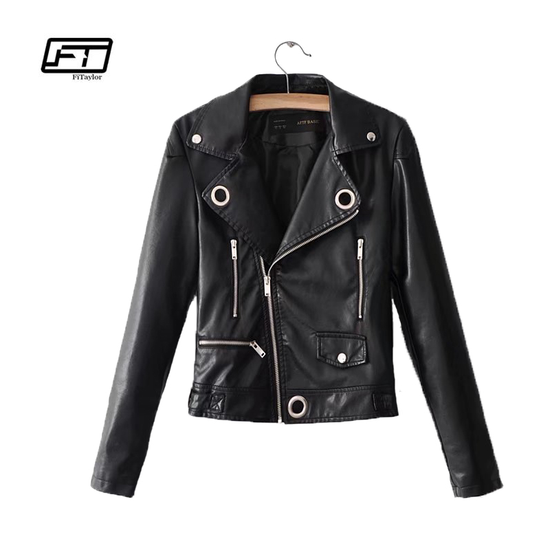 Fitaylor 2018 New Spring Autumn Women Pu   Leather   Jacket Rock Motorcycle Turn-down Collar Long Sleeve Black   Leather   Jacket Coat