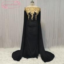 SuperKimJo Muslim Evening Dress Dubai 2017 Lace Applique Beaded Svart Dubai Kaftan Vestido Longo De Festa