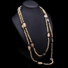 Дизайн 7x7,5 мм 158 см цвет шампанского золото пресноводный жемчуг кристалл ожерелье Длинный свитер модные ювелирные изделия