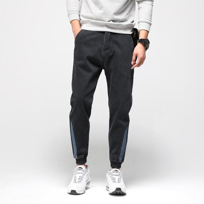 Fashion Classical Men Jeans Black Color Vintage Design Japanese Style Loose Fit Cargo Pants Men Winter Warm Jogger Jeans Homme