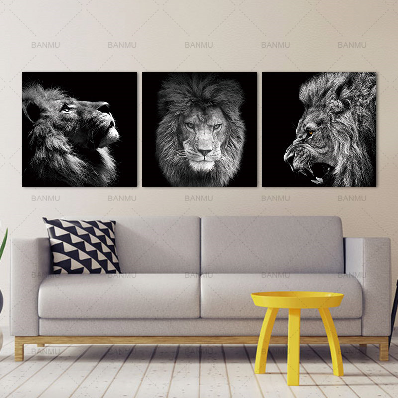 HTB1VTDChOMnBKNjSZFzq6A qVXat Animal lion art prints Wall Art Pictures Canvas Painting abstract canvas poster painting decoration for living room art picture