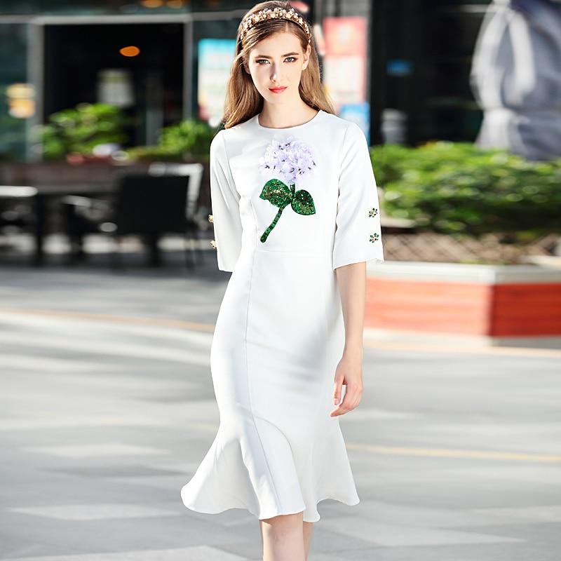 High Quality Runway 2018 Spring Womens New Beach Boho Party  Office Flowers Button Vintage Elegant Chic Mermaid White Dresswhite  dressdesigner dressdress designer