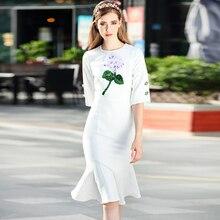 Hohe Qualität Runway 2018 Frühling frauen Neue Strand Boho Party Büro Blumen Taste Vintage Elegante Chic Meerjungfrau Weiß Kleid