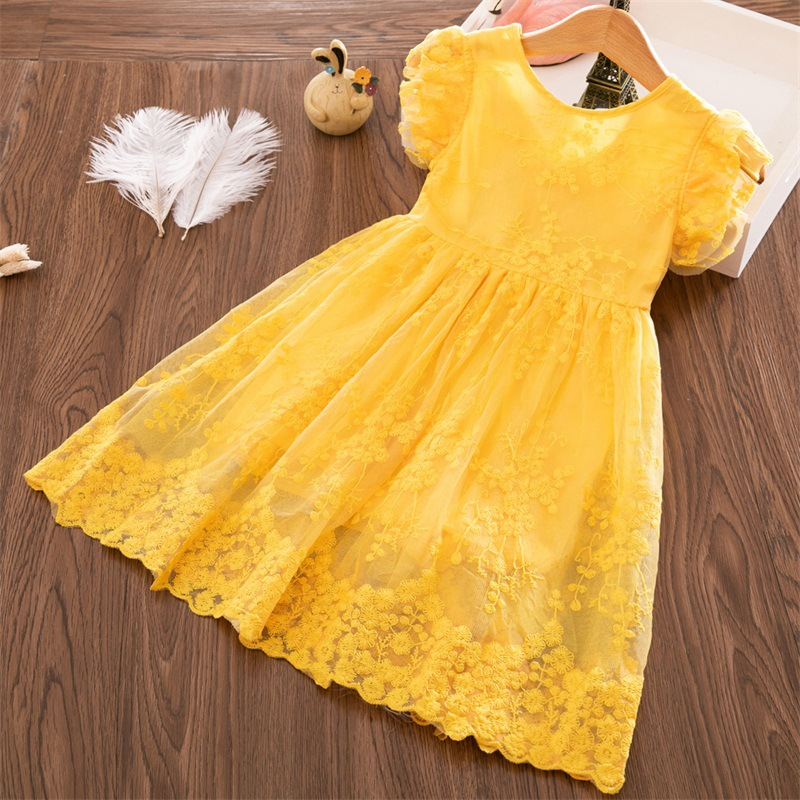Kids   Girls     Dresses   Embroidery   Flower   Lace Mesh Casual Princess   Dress   Baby   Girls   Yellow Summer Sleeveless   Dresses   for   Girls   2-7Y