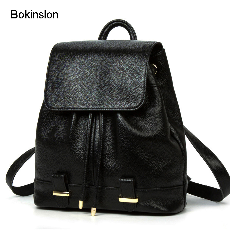 Bokinslon Leather Backpack Women Split Leather Popular Student Travel Bags For Girls Fashion Practical Ladies Backpacks