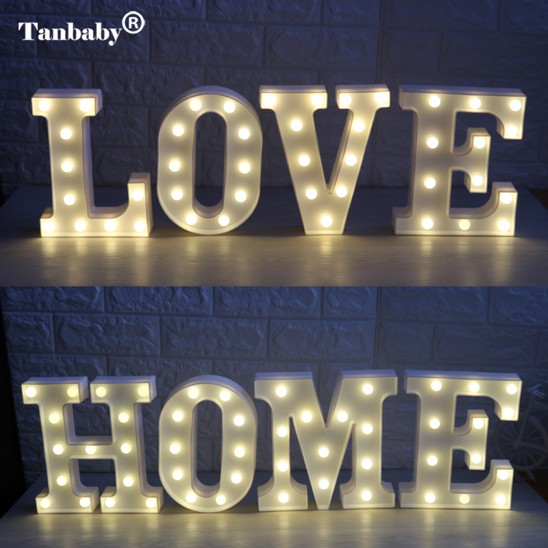 Tanbaby 3D 26 Letters White Night Light Alphabet Light Indoor Wall Hanging Night Light Bedroom Wedding Birthday Party Decor