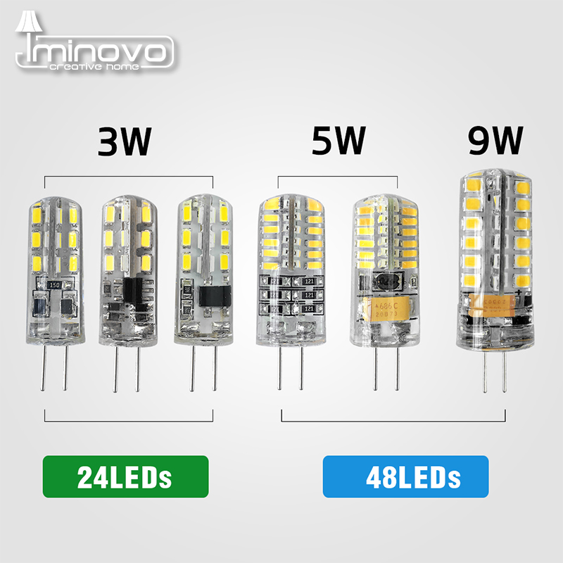 IMINOVO G4 LED Lamp Light Bulb AC/DC 12V 220V 24LED 48LED Replace 10W 30W 50W Halogen Silicone SMD3014 3W 5W 9W Ceiling Lighting g4 led ac dc 12v 3w 5w led g4 lamp led bulb smd 3014 led g4 light replace 10 20w halogen lamp light